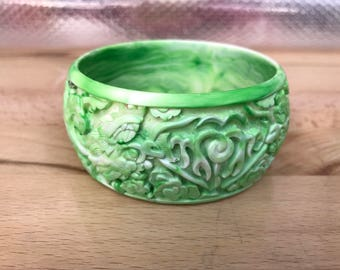 Faux Jade Dragon Bangle