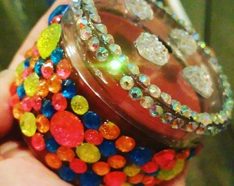Colorful bling candle