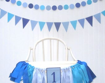 First Birthday Blue  Banners, Month to Month Photo Banner, Boy, Little Man, High Chair Garland, Cake Smash, Photo Prop, Backdrop