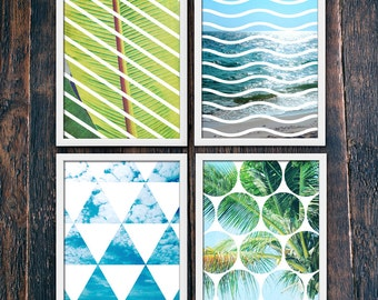 Beach Art Prints Set of Four, Tropical Wall Art Print, Contemporary Modern Decor PRINTABLE, Modern Geometric Waves, Leaves Photo (#16195b-8)