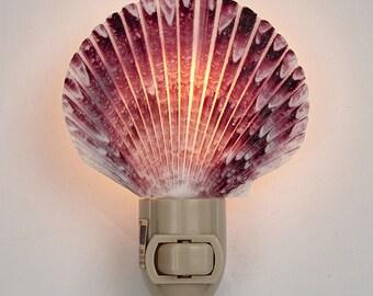 Purple Scallop Natural Shell Seashell Night Light (Gift Boxed), Shell Nightlight