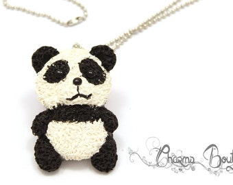 Polymer Clay Necklace Panda Bear Necklace Lovely Handmade Jewelry Gift Bear Panda Charm Necklace Animal Necklace Pendant Charm Gift for Her