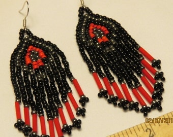 Native Style Black and Red Beaded Earrings