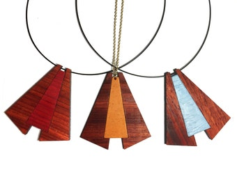 Mandira Necklace | One of a kind laser cut wood pendant necklace