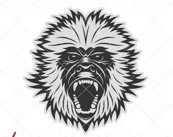 monkey svg, monkey dxf files, logo svg, jpg, png, dxf cutting files, clip art, printable, iron-on, original animal svg designs
