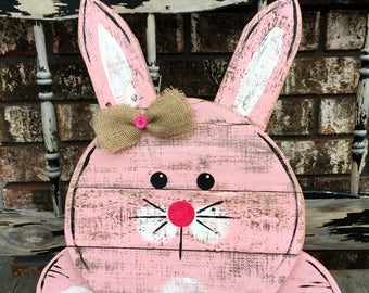 Reclaimed Pallet Wood Bunny Sign, Wooden Bunny, Easter Bunny