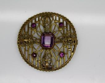 STUNNING VINTAGE ART Deco Victorian Amethyst Glass Brooch