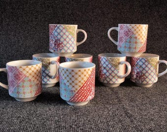 Set of Eight 1970's Small Coffee Mugs in Bright Spring Colors/ Pink/ Powder Blue/ Red/ Gold/ Spring Green/ Patchwork Pattern/ Pastel Colors