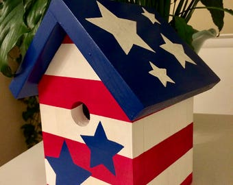 Patriotic stars and stripes red white and blue hand painted birdhouse