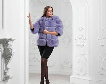Violet arctic fox fur coat Horizontal fur coat Real Finland fur Fox coat horizontal striped fur Natural fox fur short coat Layerd Striped