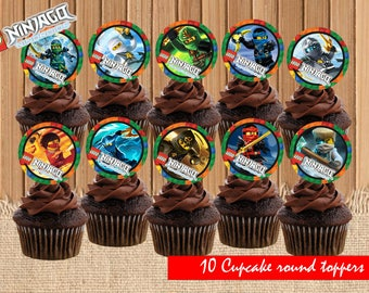 Lego Ninjago Cupcake Toppers| Lego Birthday Party| Lego Cupcake Toppers| Lego Ninjago Birthday Party Printable| INSTANT DOWNLOAD