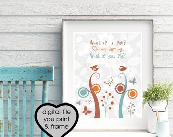 Inspirational Quote PRINTABLE Art What If i Fall Oh My Darling What if You Fly Typography Print Birds Butterfly FlowersGreat