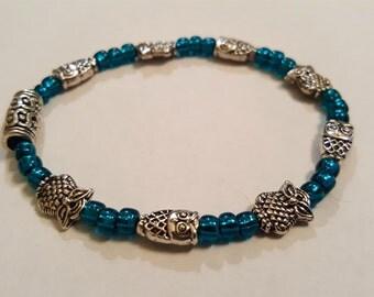 Owl and Turquoise bead elastic bracelet