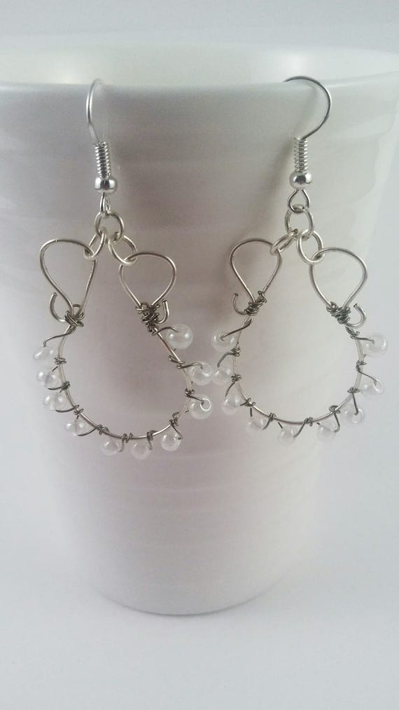 White chandelier earrings, bridal shower gift, bridal earrings, mothers day gift, spring earrings, gifts for wife, jewelry, mom, Easter,