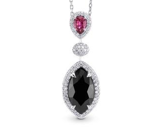 A 3.97Ct TW Fancy Black Diamond and Ruby drop pendant,18K white gold,certified by GIA,diamond pendant,elegant pendant,necklace,sku: 220982