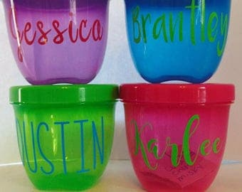 personalized kids snack container, snacks on the go, pink and blue snack bowl, kids snack bowl.