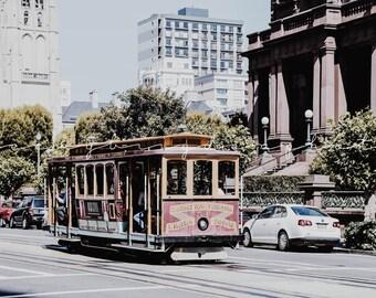 San Francisco Cable Car Photograph, California, USA, Road Trip, Travel Photography, West Coast, Fine Art, Color, Cityscape
