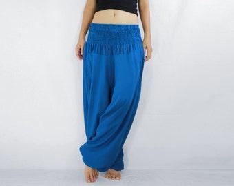 Women Solid Blue Yoga Jumpsuit Harem Pants / Music Festival Pants /  Yoga Pants - CP PNT005