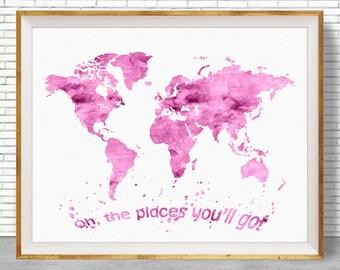 Oh the Places You'll Go Wall Art World Map Print Nursery Decoration, Girls Room Decor, Baby Girl Nursery, Nursery Quotes, ArtPrintZone