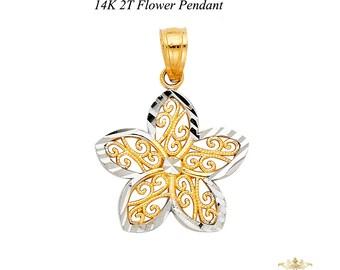 Flower Pendant, 14K Two Tone  Flower Pendant - Top Gold & Diamond Jewelry