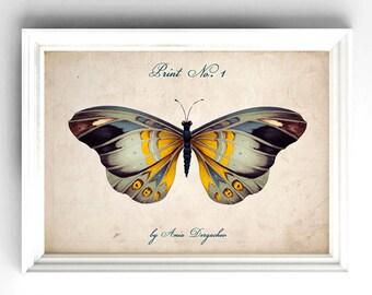 Botanical printable, Butterfly printable, Nature print, Butterfly print, Butterfly art, Botanical wall art, DIY Wall decor, Botanical decor