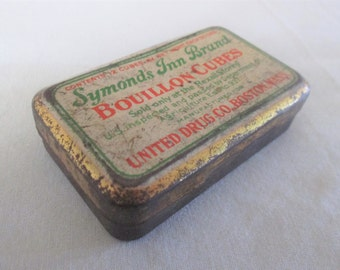 1940s Bouillon Cubes Tin Symonds Inn Brand United Drug Co Boston Mass Sold only at Rexall Stores Advertising Vintage Original