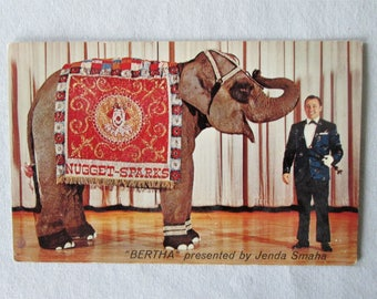 Vintage 1960s Bertha the Famous Elephant Advertising Postcard