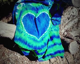 Seattle Seahawks/ Heart/ Tie Dye T-Shirt/  Small, Medium, Large, XL, XXL, XXXL T-Shirt/ Seahawks Tie Dye