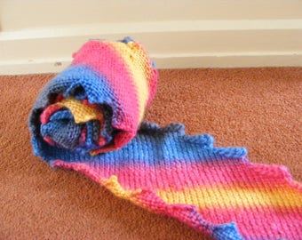 Super long ripple edge scarf, hand knitted with stripes