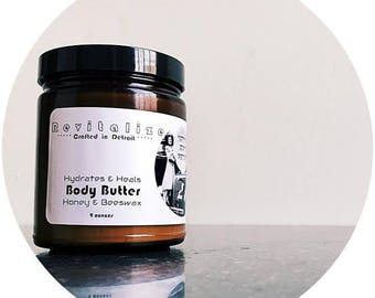 Honey & Beeswax Body Butter / 9 ounces / Moisturizer / Handcrafted in Detroit / All Natural Ingredients / Cocoa Butter /