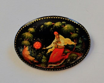 Russian Black Lacquer Pin Lady with Fox