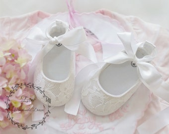 White Lace Baby Shoes, Blessing Baptism Shoes, Cotton Christening Shoes, Pure White Flower Girl Wedding Shoes