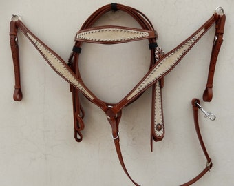 Beige Suede Inlay Western Tack Set with silver dots and concho - Headstall & Breast Collar Set