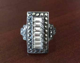 Vintage Sterling Silver Ring with Marcasite & Gemstones, Size 4.75