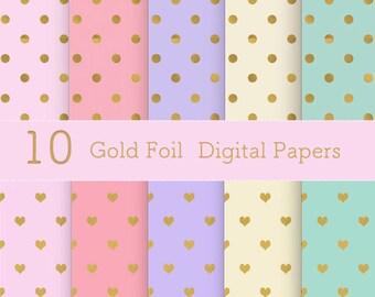 Gold Foil Polka dot and Heart Digital Paper