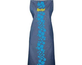 Personalised 'Forget-me-not' denim apron