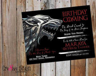 Birthday Is Coming Game of Thrones, Custom Printable Invitation, GOT, G.O.T., House Stark, House Lanister, Winter Is Coming, 7 Kingdoms