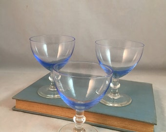 Blue Aperitif Glasses, Set of Three, Coctail glasses