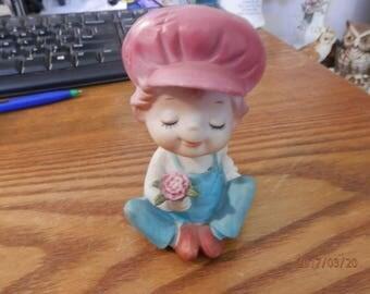 70's style porcelain  little boy  figurine