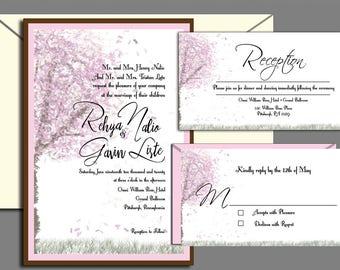 Wedding Invitation - Cherry Blossom Tree