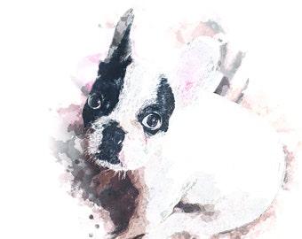 Custom Portrait Pet Dog Portrait Painting Watercolor Digital Painting Photo Custom Art Custom Watercolor Painting Portrait From Photo - IDP4