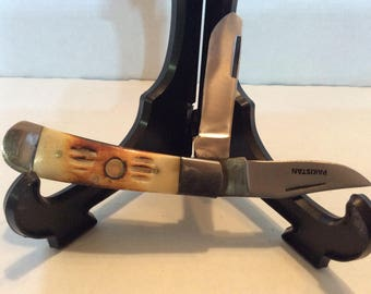 Stag Handle Pakistan Pocket Knife 2 Blade