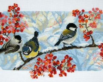 Cross stitch pattern PDF winter, Cross stitch pattern PDF birds, Cross stitch pattern PDF tit