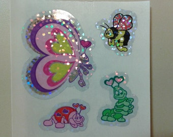 Sandylion Stickers Scrapbooking vintage Glittery Butterfly and insects   (1 mod)