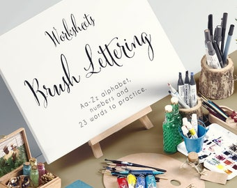 Brush Lettering Worksheets 21 pages to practice. PRINTABLE for Beginner Hand Lettering