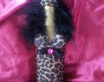 Recycled wine bottle leopard print fancy dress
