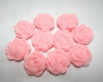 Ten Pink Felt Rolled Roses #E-0137