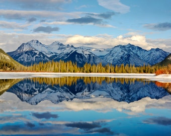 Banff National Park, Vermillion Lakes, a calming reflection of the mountains and lake
