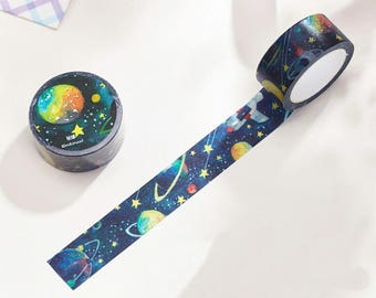 Space Japanese Washi Tape. Scrapbook and Stationery Tape. 20mmx10m. Wide Washi Tape.