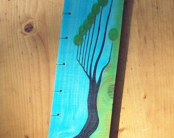 """Recycled wood elongated notebook, oil piante by """"RetoqueRetro"""""""